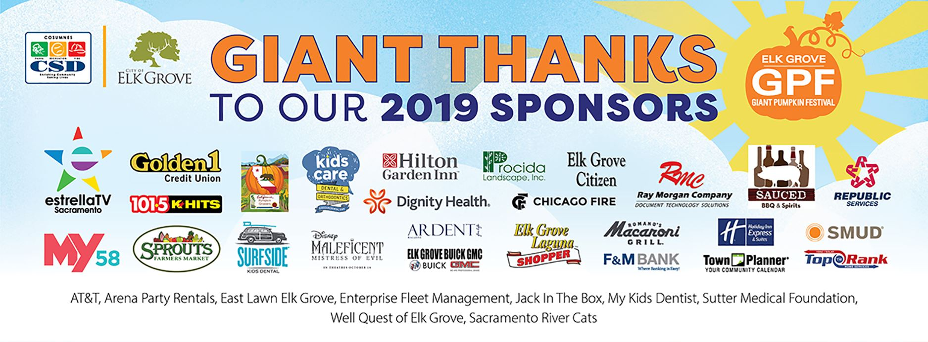 Graphic Image of all the Giant Pumpkin Festival 2019 Sponsors.