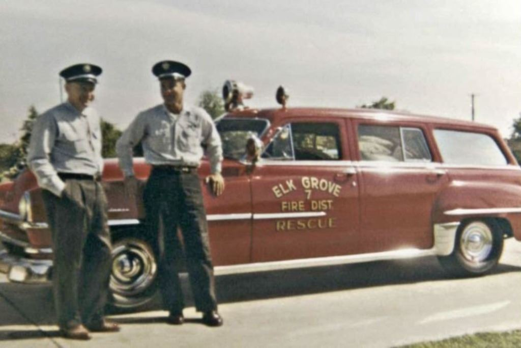 A photo taken in 1951 of a Fire Medic and his Crew