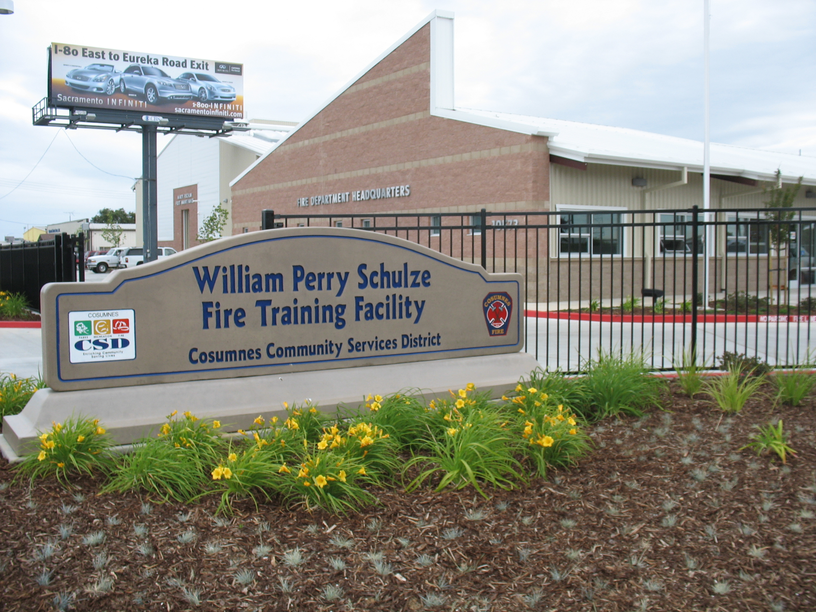 The sign at the William Perry Schulze Fire Training Facility.