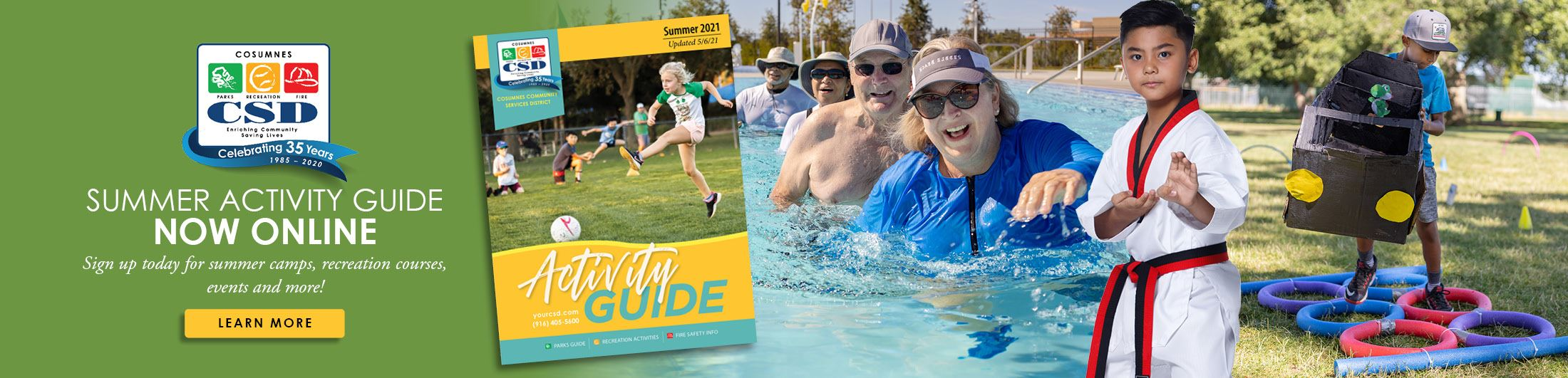 Summer Activity Guide cover with collage of people participating in summer activities