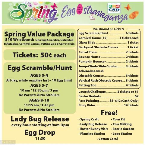 Spring Eggstravaganza activities and prices