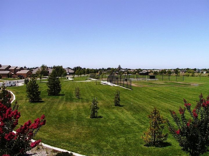 A view of the expansive lawn and baseball field at Jones Park