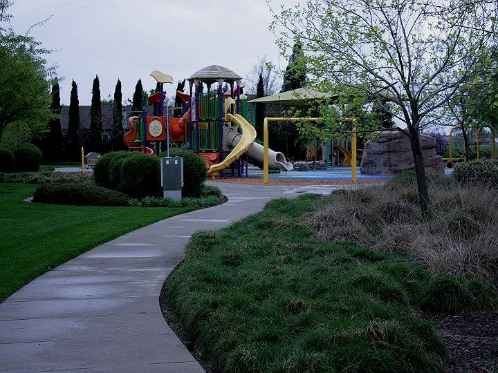 Walkway into park towards play ground.  Green shrubs, trees and grass boarder walkway.