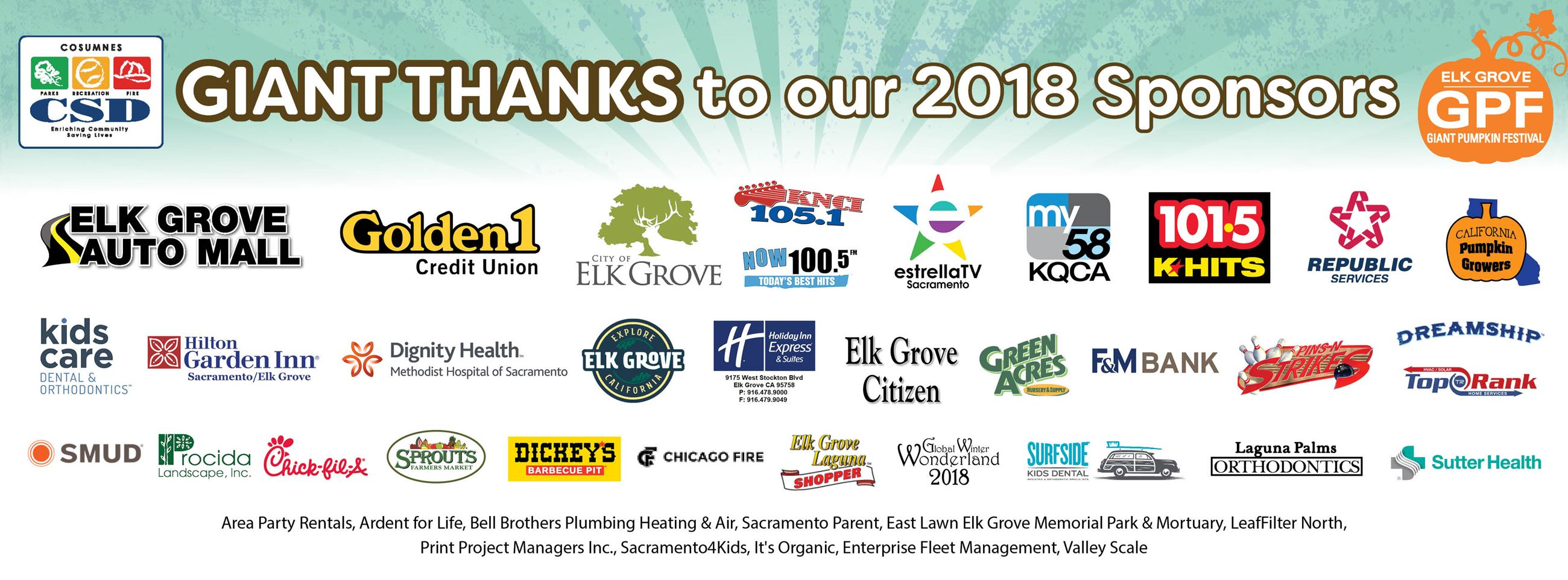 GIANT THANKS to our 2018 Sponsors