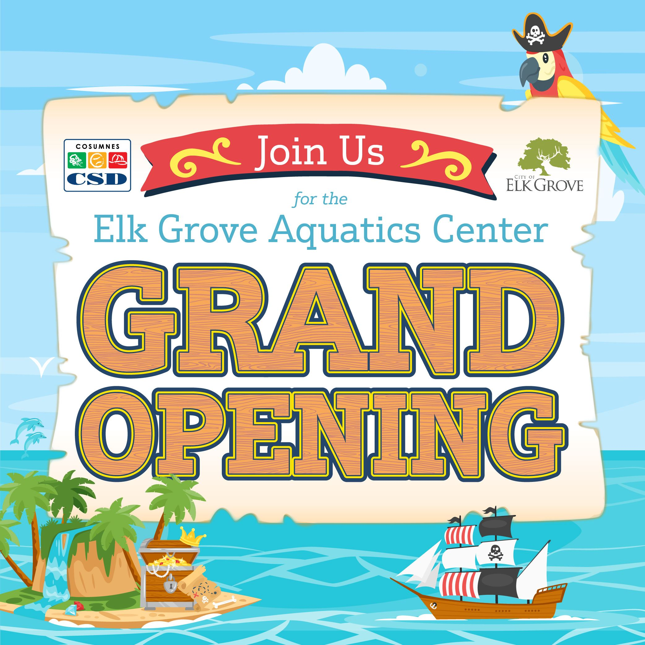 A vibrant pirate themed graphic for the Elk Grove Aquatics Center grand opening.