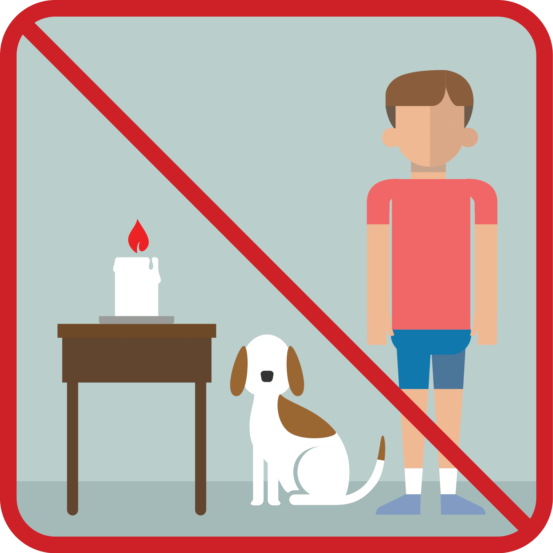 Never leave a candle lit with children and pets unsupervised