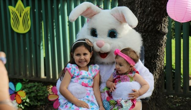 two girls with bunny