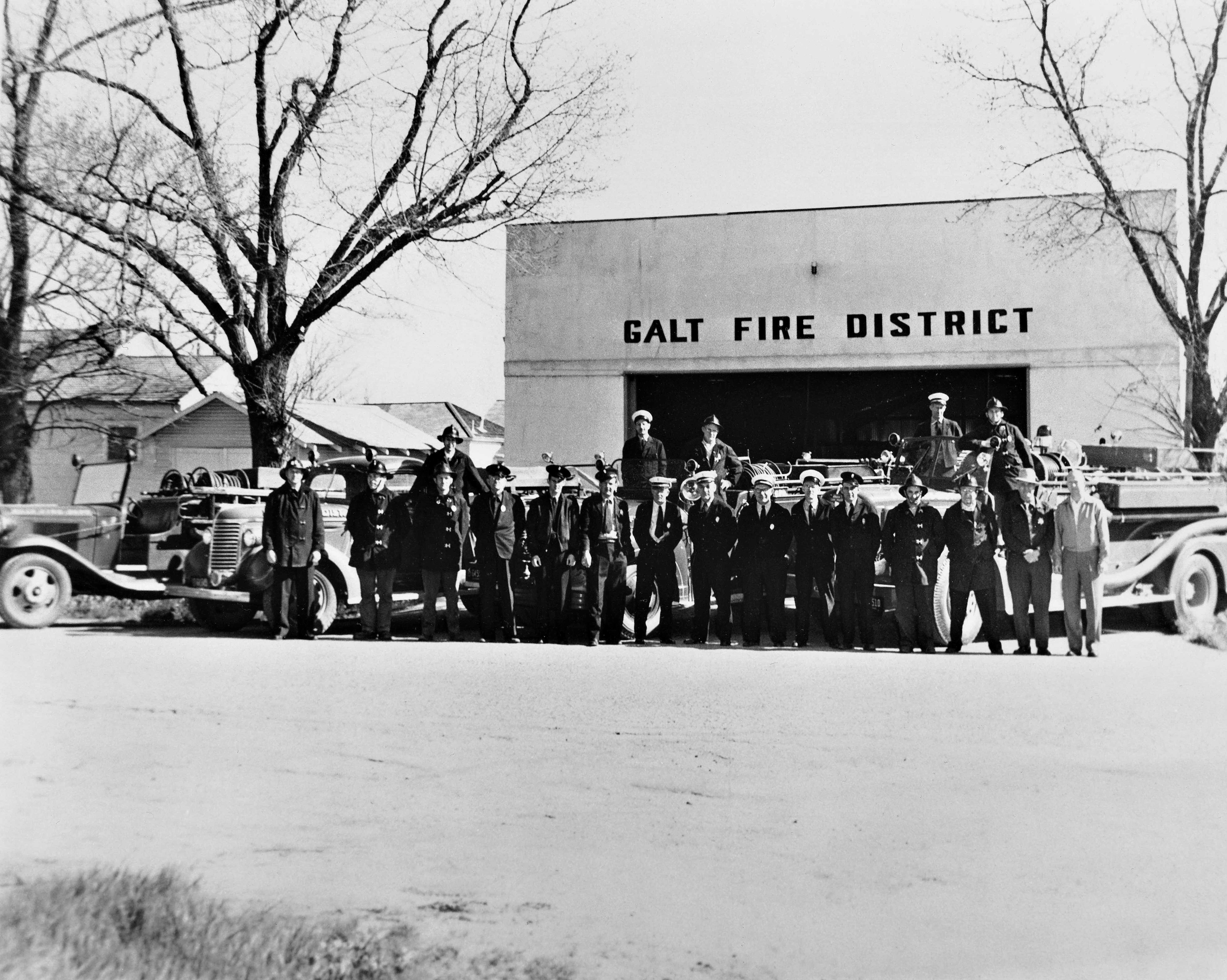 A black and white photograph of the Galt Fire District