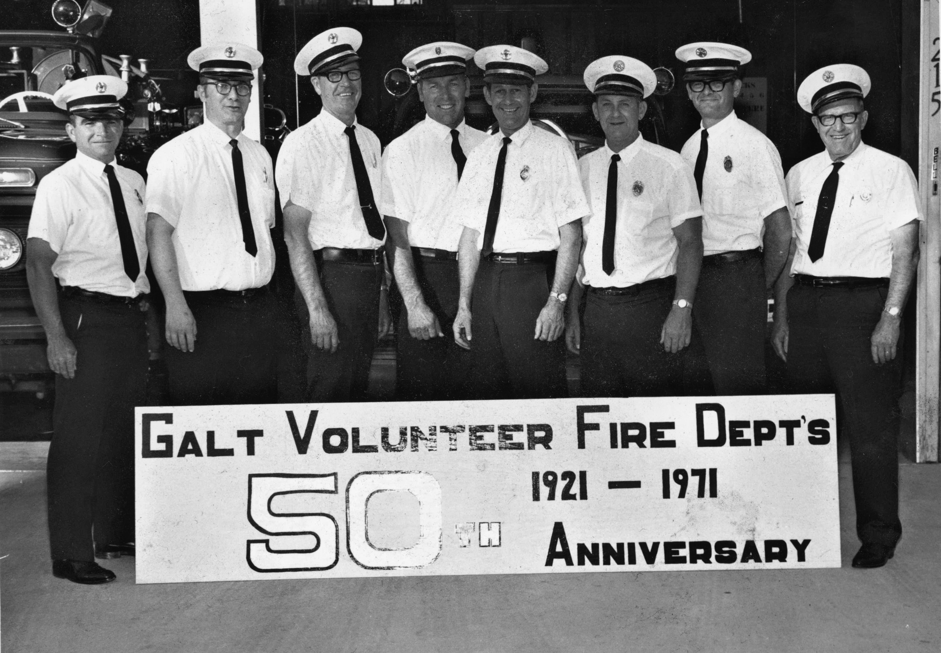 The Galt Volunteer Fire Department&#39s 50th Anniversary picture in 1971.