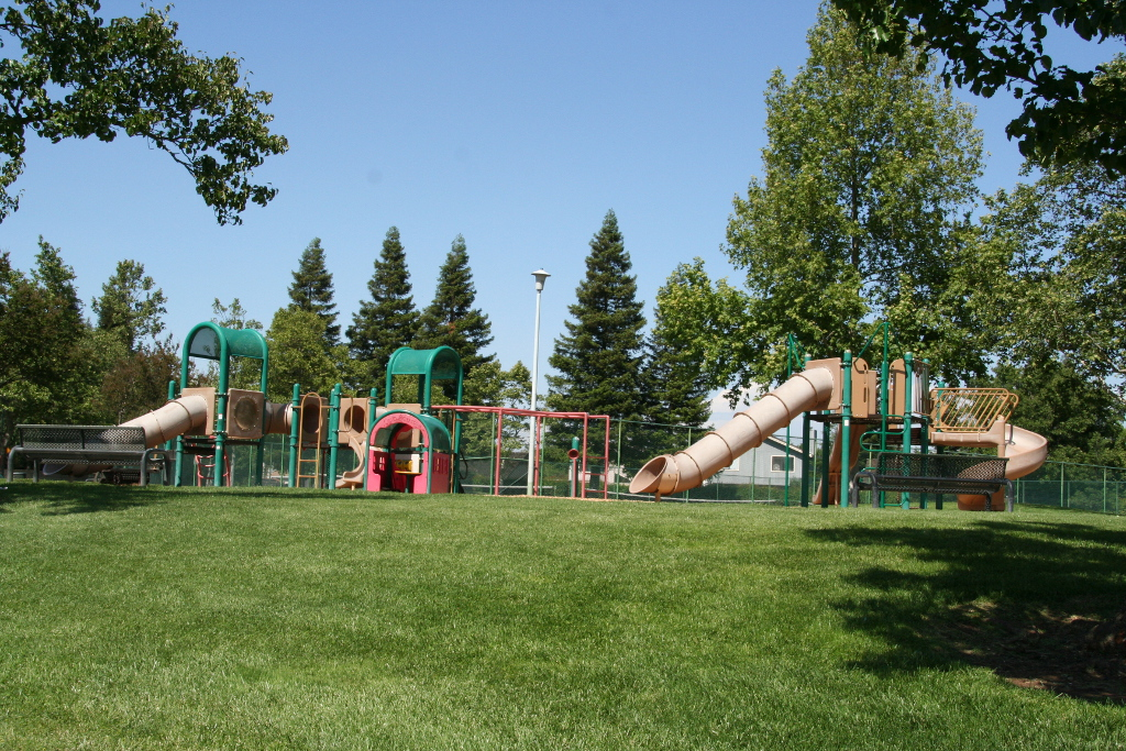 Playground surrounded by green grass