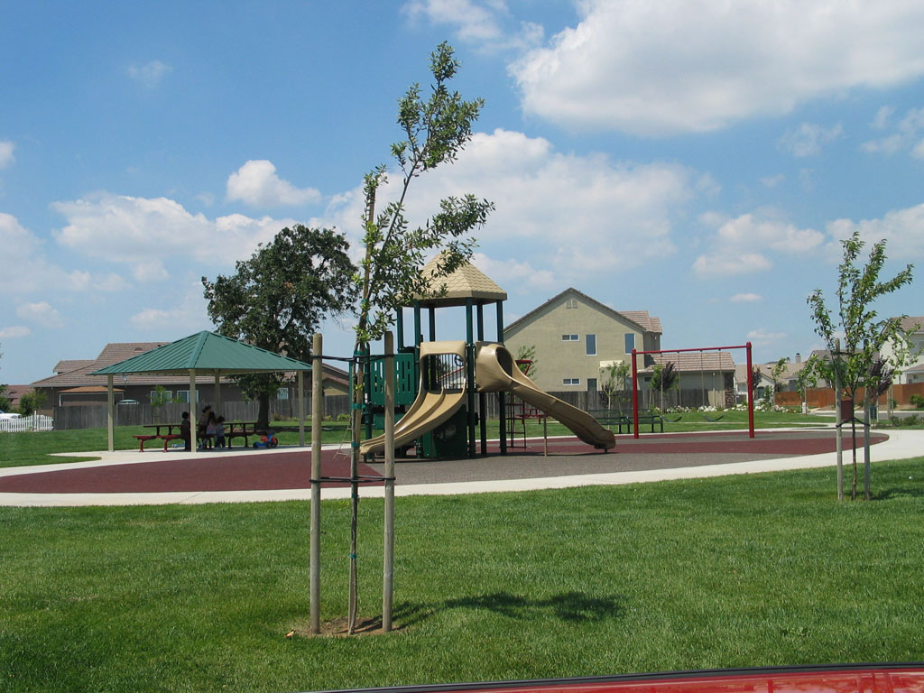 Playground, walkways and grassey area
